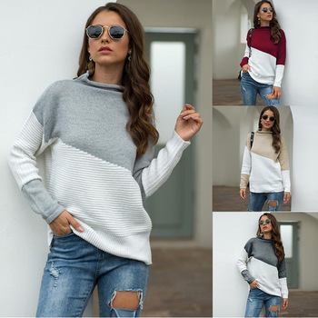 S-XL 2020 Fall/Winter christmas Knitted Sweater Turtleneck Contrast Color Pullover Irregular Sleeves Rolled Gray White Jumpers christmas snowflake patterned tunic turtleneck sweater