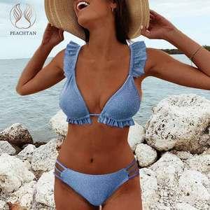 Peachtan Shiny ruffle bikini 2020 Micro solid swimsuit women Hollow out backless swimwear female Frill String bathing suit New