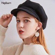 Hepburn brand Corduroy Wool Winter Hats For Women Painter Cap Octagonal Newsboy Men Ladies Casual Hat Multicolor flat cap