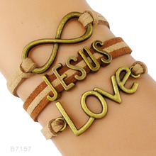 Infinity Love Silver Faith Believe Bracelets Fearless Courage Jesus Me Forgiven Sideways Cross Christian Leather