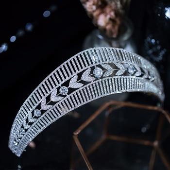 Queenco Princess Crown Zircon Tiara Women Jewelry Silver Color Headband Bridal Wedding Hair Accessories