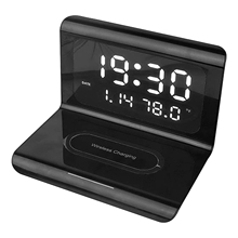 Creatives Wireless Phone Charging Station With Digital Alarm Clock Multifunctional Charger Pad for Phone DQ-Drop