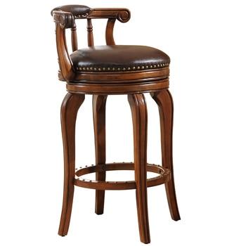 European Style Bar Chair Leather High Stool Solid Wood Bar Stool High Swivel Chair solid wood european style bar stool american retro high bar chair home