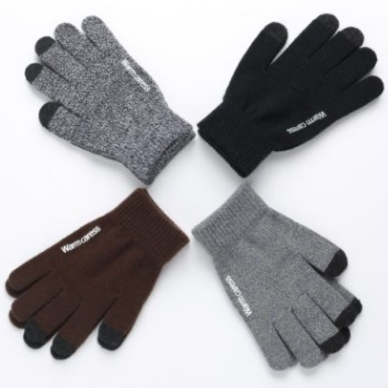 Unisex Winter Knit Touch Screen Gloves Thick Warm Lined Non-Slip Palm Mittens