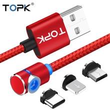 TOPK Магнитный кабель для зарядки L-Line, светодиодный кабель 90 градусов для iPhone 11X8 7 6 Plus и кабель Micro USB и кабель usb type-C USB C