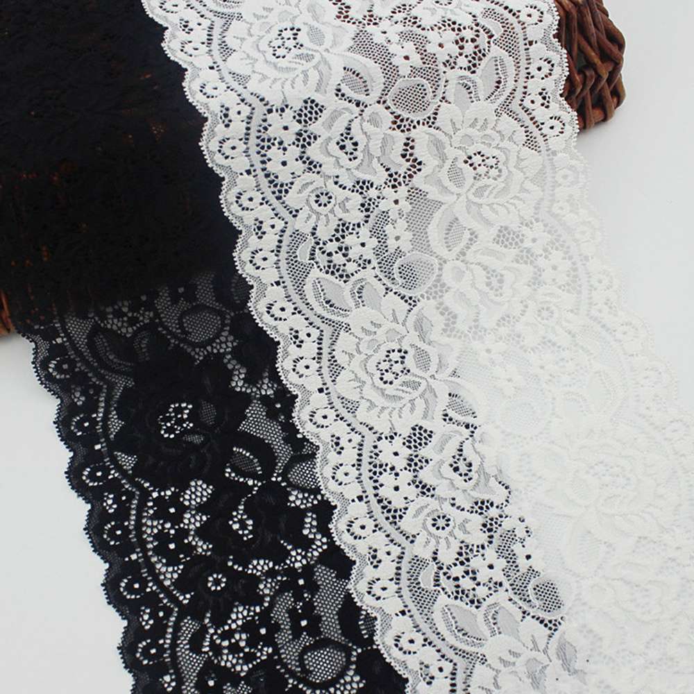 White Black Elastic Lace Trimming Fabric French Hollow Underwear Stretch Lace DIY Spandex Lace Elastic Sewing Ribbon Accessories