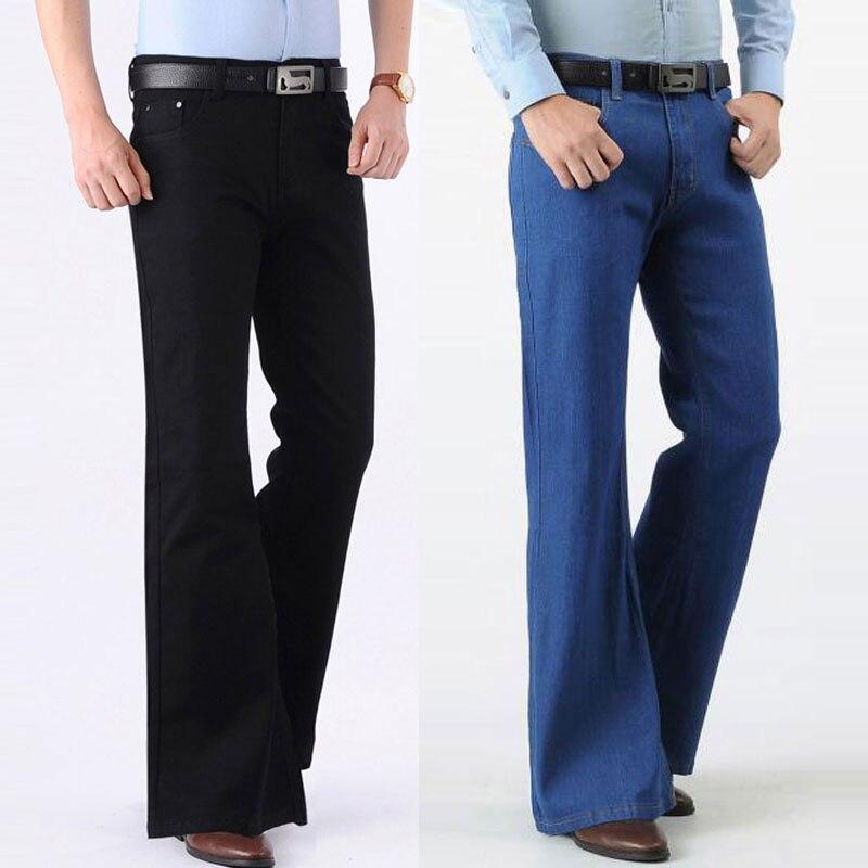 Jeans Men Fashion Retro Big Flare Pants 2020 Men's New Loose Denim Flare Pants Men's Wide Feet Slim Thin Pants Size 28-38