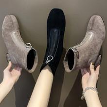 Front Zipper Short Boots Women's 2019 Autumn And Winter New Style WOMEN'S Shoes