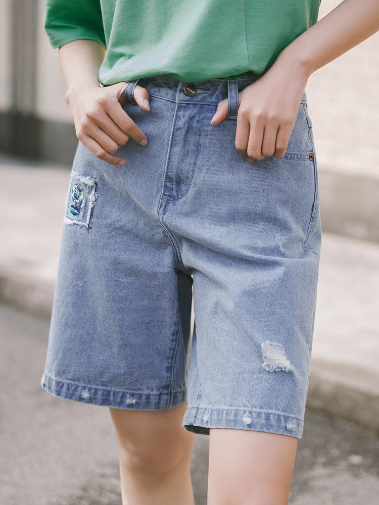 INMAN 2020 Summer New Arrival Pure Cotton Wash Literary Personality Worn Embroidered Concise Style All-match Medium Length Jeans