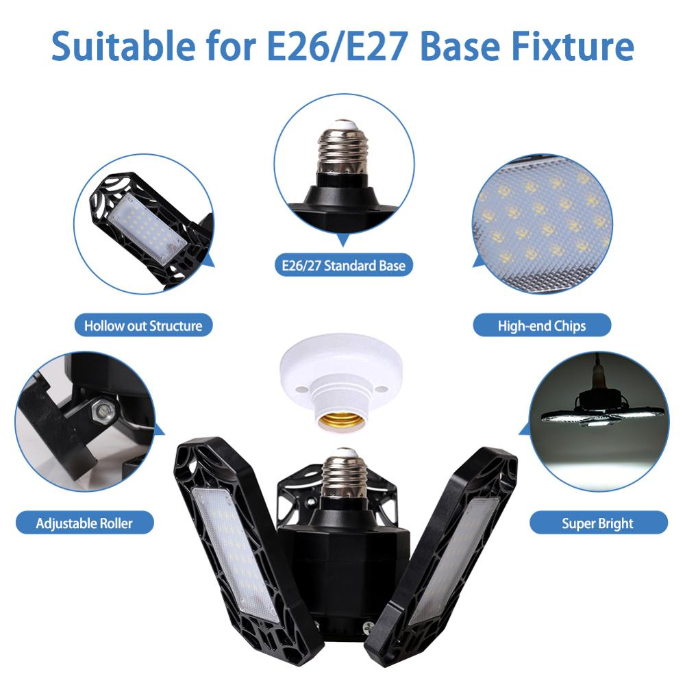 High Power 40W Super Bright Garage Working Light 3 LED Adjustable Lamp Holders Waterproof Folding Lamp 4000 Lumens Outdoor Lamp