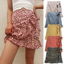 Summer Woman Half-length Pleated Skirt High Waist Patchwork Ruffle Irregular Lace-up Casual Folk-Custom Style Women Skirts LG033