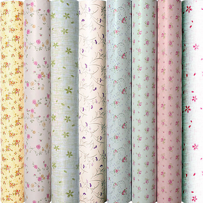 10m*45cm Children Korean PVC Wallpaper Self Adhesive Waterproof Baby Wall Sticker Creeper Bedroom Warm European Small Flowers