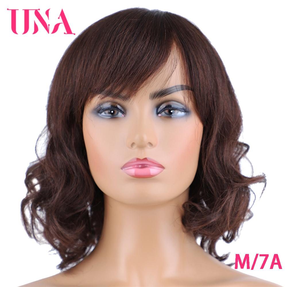 UNA Malaysia Human Hair Wigs For Women Wavy Machine Wigs Non-Remy Human Hair Wigs 7A Middle Ratio 10