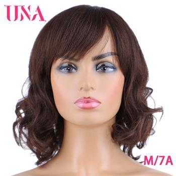 UNA Malaysia Human Hair Wigs For Women Wavy Machine Wigs Non-Remy Human Hair Wigs 7A Middle Ratio 10 120% Density 11 Colors una short malaysia human hair wigs for women sassy curly non remy human hair 120