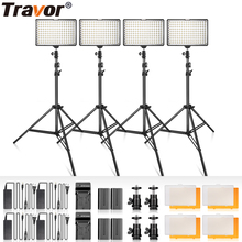 Travor TL-160 Video Light 4 set With Tripod Dimmable 5600K Studio Photography Lighting LED Photo Lamp for Wedding News Interview samtian video light tl 600s 2sets led video photo studio light kit dimmable 600pcs led panel lamp with tripod for photographic