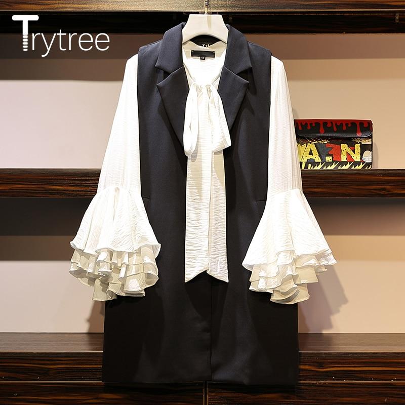 Trytree Autumn Women Two Piece Set Casual Turn-down Collar Single Button Vest + Blouse Petal Sleeve Office Lady Suit 2 Piece Set