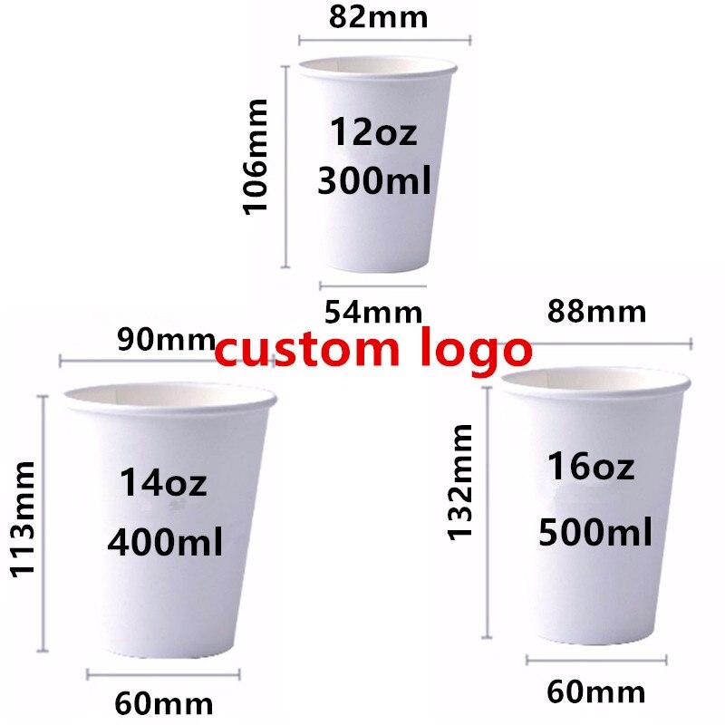 500 pièces de haute qualité papier de qualité alimentaire personnalisé tasses jetables 12oz 300ml 14oz 400ml 16oz 500ml lait thé boisson papier tasse imprimer logo