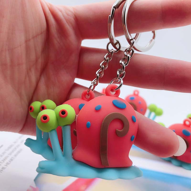 Cartoon Anime Cute Keychain Silicone Spongebob Keychain Women Gift Snail Porte Clef Minne Key Chain
