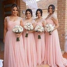 цена на Pink Cap Sleeves Chiffon Beaded Bridesmaid Dresses Floor Length Wedding Guests Dress Sweetheart robe demoiselle d'honneur