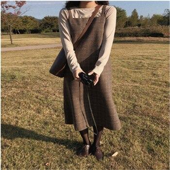 New S XL Spring  Boho plaid strap Girls dress vintage suit T-shirt suits Women Dresses Female braces Robe Femme Vestido