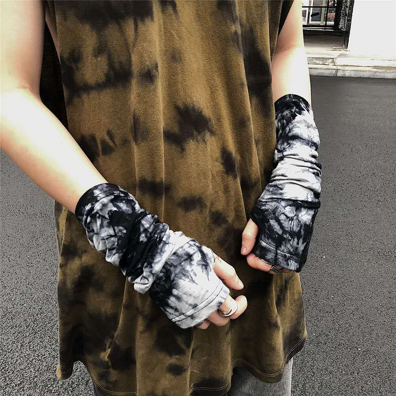 Punk Gothic Unisex Fingerless Cuff Thin Gloves Women Men Ninja Sport Outdoor Elbow Length Mittens 2020 Cool Arm Warmer