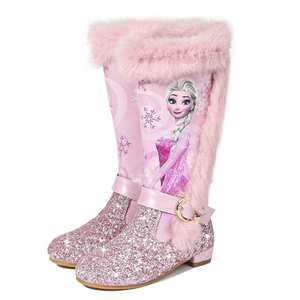 Girls Boots Snow-Shoes Over-The-Knee-Boots Pink Elsa Kids Winter Princess Children's