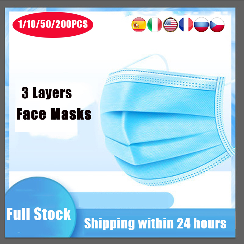 2020 In Stock Disposable Mouth Mask Antibacterial 3 Layers Non-woven Filter Mouth Cover