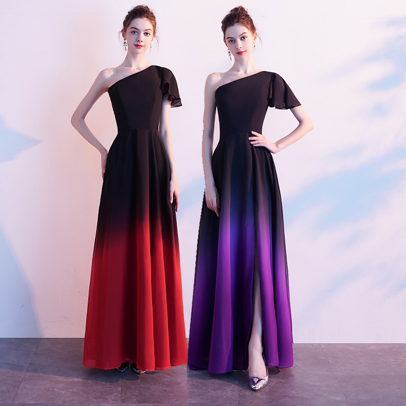 Berman 2019 Hot Angel fashions Women 39 s One Shoulder Pleated Splicing Gradient Sequin Contrast Color Black Red Split Party Dress in Dresses from Women 39 s Clothing