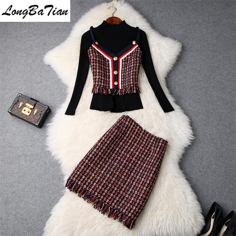 Winter Full Sleeve Turtleneck Pullover Tweed Buttons Plaid Camis Tassel Skirt 3 Piece Women Red Patry Dress Set