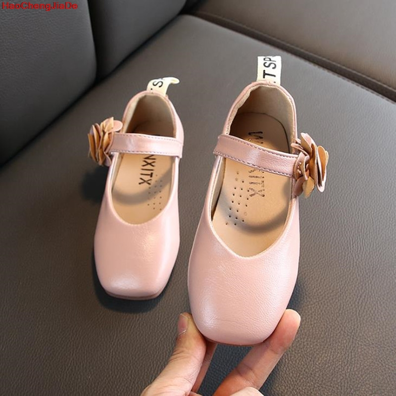 Children Shoes Girls Flat Heel Shoes Leather Flower Princess Shoes For Party Dance Big Kids Shoes For Party School