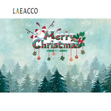 Laeacco Forest Baby Cartoon Santa Clause Christmas Winter Snow Photo Backdrops Photographic Backgrounds Photocall Studio