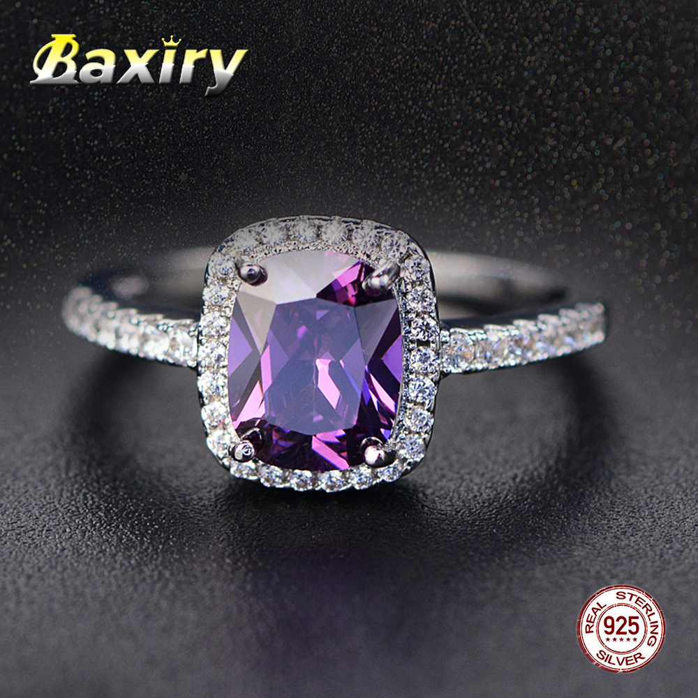 Fine Engagement Ruby Ring 925 Sterling Silver Rings Amethyst Gemstone Ring Silver Emerald Blue Sapphire Ring 2019 New For Women