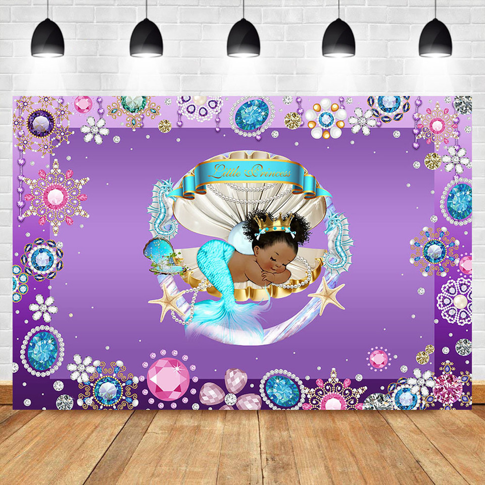 Mermaid Baby Shower Backdrop Sleeping Beauty Colorful Diamonds Purple Photography Background Birthday Party Banner Backdrops Background Aliexpress