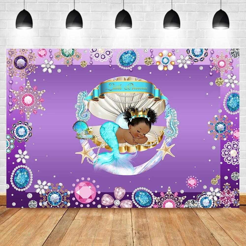 Purple Gold Mermaid Baby Shower Backdrop,Mermaid Baby Shower,Mermaid Baby Shower Backdrops,Mermaid Baby Shower,Ethnic Mermaid,DPM3