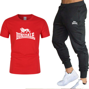 2020 Hot LONSDALE Men T-shirt +Pant Two-pieces Sets Casual Suits Joggers Brand Male Trousers Casual T-shirts Sportswear Set цена 2017