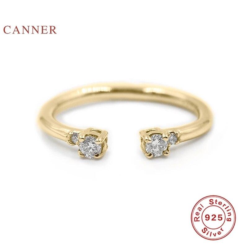 CANNER-Anillo de plata y oro de primera ley para mujer, sortija pequeña, plata esterlina 925, boda, buenos de lujo