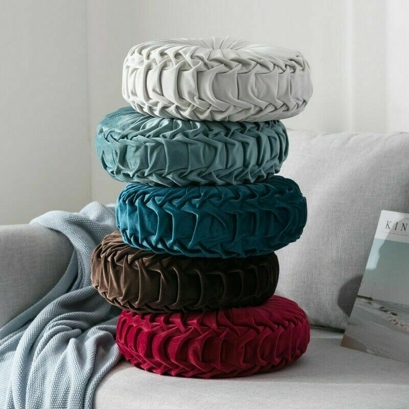 Newest-Home-Textile-Velvet-Pleated-Round-Solid-Color-Cushion-Pouf-Throw-Home-Soft-Cushion 3