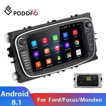 Podofo Android 8.1 7'' Car Radio 2 DIN Car Multimedia Player 2DIN GPS WIFI Autoradio For Ford Focus Mondeo C-MAX S-MAX Galaxy image