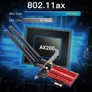 Image 4 - 무선 데스크탑 WiFi6 인텔 AX200 카드 블루투스 5.0 듀얼 밴드 2974Mbps PCIe Wifi 어댑터 AX200NGW 802.11ax Windows 10