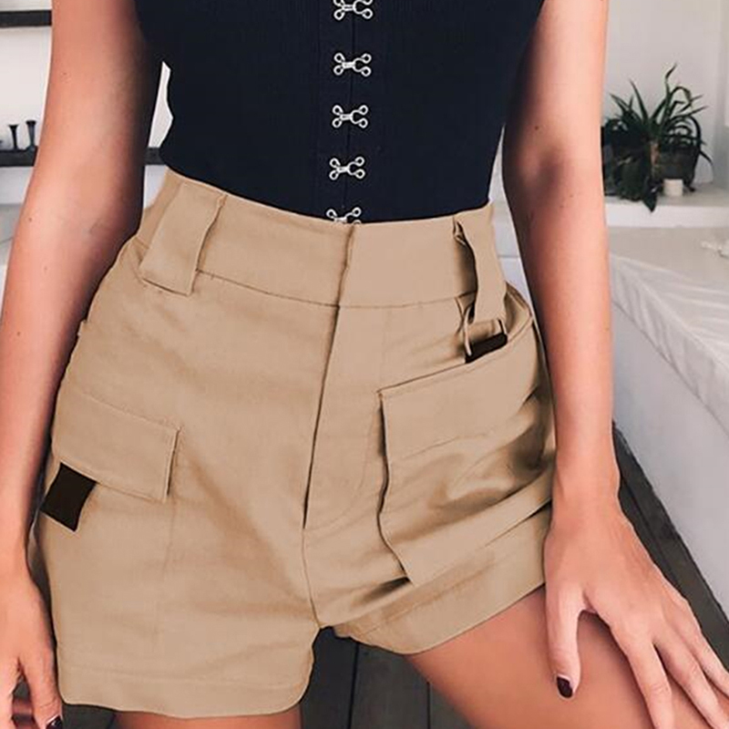 2020 Summer Large Pocket High Waist Women Shorts Loose Solid Color Casual Shorts Female Plus Size 2XL Shorts