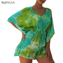 Floral Print Playsuit 2019 Summer Bohemian Holiday Womens Tie-dye High Waist Seven-point Sleeve Playsuits