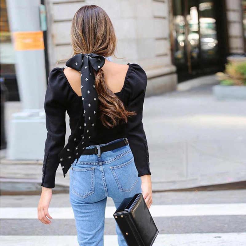 Colysmo Hitam Wanita Atasan dan Blus 2020 New Square Kerah Lengan Panjang Slim Fit Spring Blus Kantor Wanita Dasar Kasual top
