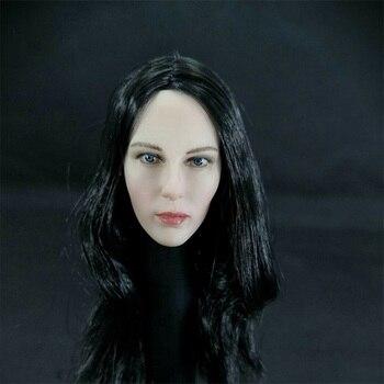 1:6 Scale Beauty Special Agent Kate Beckinsale Selene Underworld Female Head Sculpt W/Black Hair For 12'' Action Figure