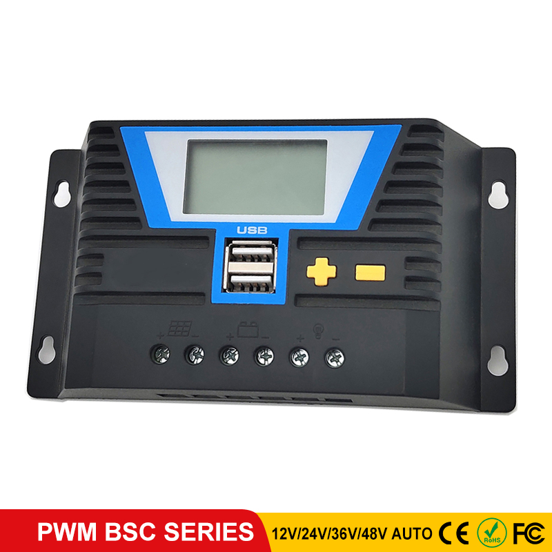 PWM Solar Controllers BSC 12V 24V 36V 48V Auto PV Solar Charge Controller Double USB output 5V/2A for Lithium battery Regulator