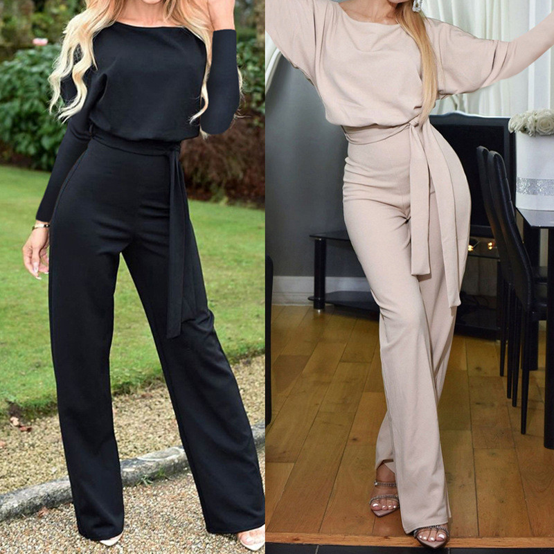 Women High Waist Broad Legged Jumpsuit 2020 Autumn O Neck Long Sleeve Pocket Solid Elegant Lace Up Rompers Black Ladies Overalls