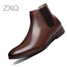 Retro Brand Men Boots Genuine Leather Pointed Toe High Quality Men Dress Boots 2019 Ankle Chelsea Leather Boots