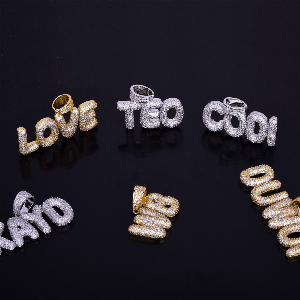 Custom Name Small Bubble Letters Necklaces & Pendant Chain For Men Women Gold Silver Color Cubic Zircon Hip Hop Jewelry Gifts