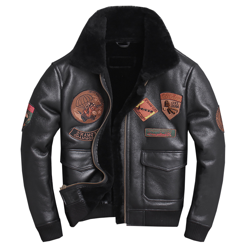 2020 Black Men Military Shearling Leather Jacket Plus Size XXXXL Slim Fit Russian Genuine Thick Natural Avator Coat