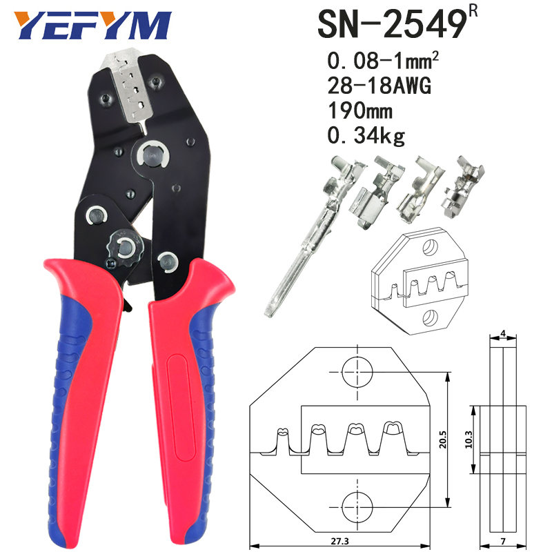 Electrician mini crimping pliers set for 2.8/4.8/6.3/VH3.96/tube/lnsulation/terminals, hand tool crimping pliers SN-48BS=48B+28B 5