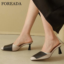 FOREADA Natural Genuine Leather High Heels Woman Mules Shoes Stiletto Heel Ladies Pumps Square Toe Female Footwear Black Size 40 foreada woman high heels natural genuine leather slingbacks shoes buckle stiletto heel footwear pointed toe lady pumps beige 40